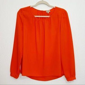 Cremieux Orange Long Sleeve Blouse Size XS